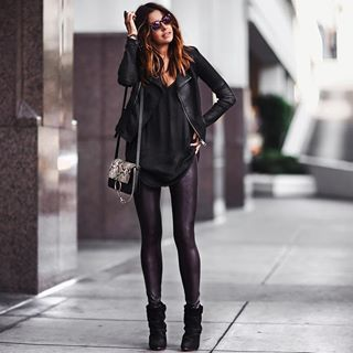 aa3a53ec1ab7bd Elevated my casual look with these super comfortable @spanx faux leather  leggings.… | Fall/Winter Fashion in 2019…