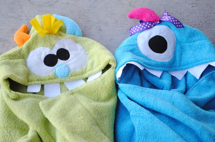 Monster Hooded Towels These are cute and can be made to fit a little bigger kids, not just toddlers