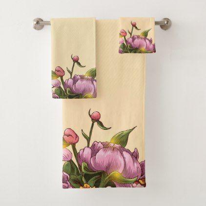 Garden of Pink Purple Gold and Rust Flowers Bath Towel Set - flowers floral flower design unique style