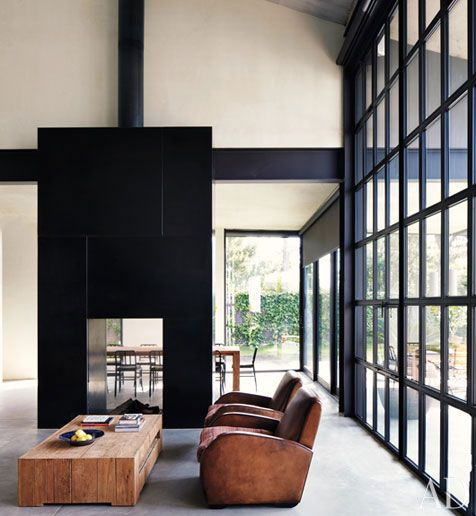 A Minimalist Home/Studio by Tom Kundig  (via Lysann from Pure Living* Interiors Blog http://pinterest.com/pin/33917803413482462/ ): Spaces, Black Window, Living Rooms, Fireplaces, Interiors Design, High Ceilings, Club Chairs, Windows, House