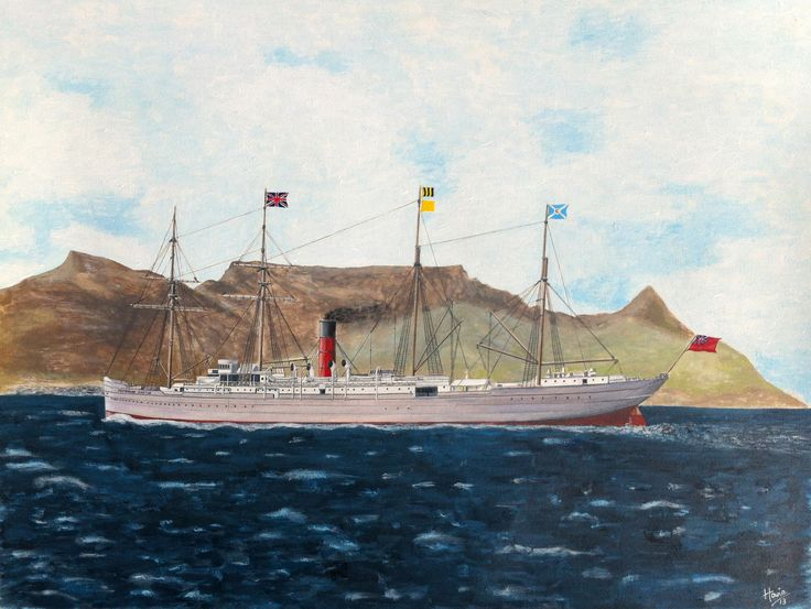 "The 'Castle Line' Royal Mail Ship ""RMS Pembroke Castle"" approaching Cape Town, South Africa in 1893. Medium: acrylic on 18"" x 24"" watercolor paper."