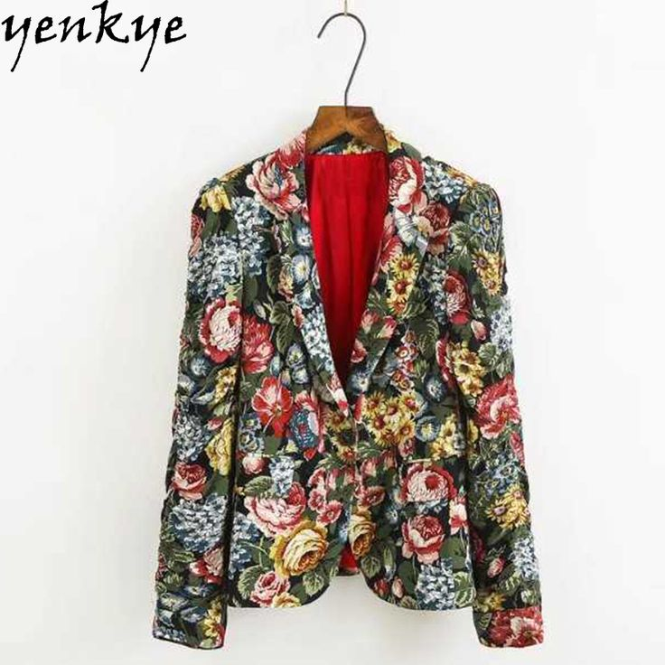 Fashion 2017 Multicolor Printed Blazer Women Notched Long Sleeve Brand  Basic Coat Blazer Feminino XZWM1070 #Affiliate