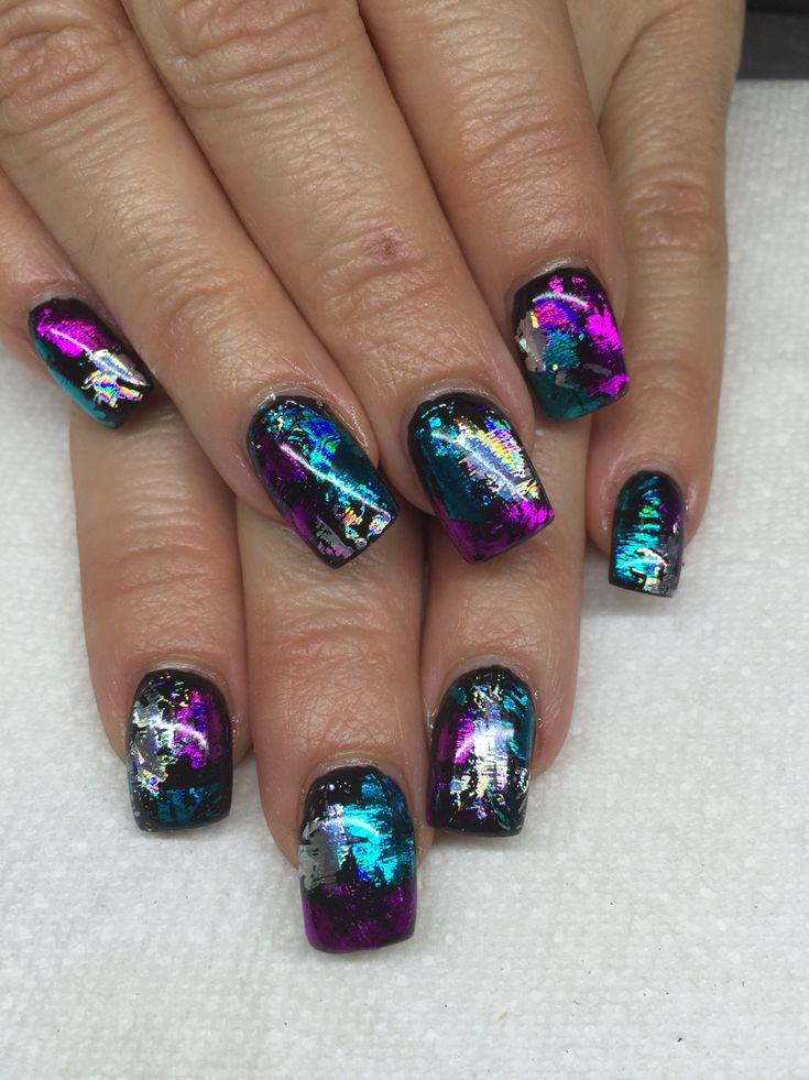 Gel Nails with transfer foils by Melissa Fox
