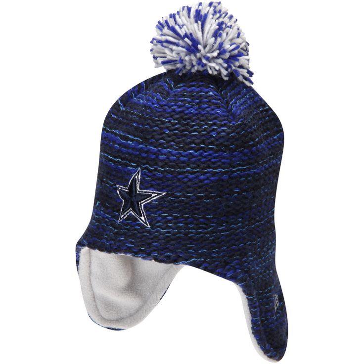 Dallas Cowboys New Era Girls Youth Pom Bundle Knit Hat - Navy - $13.59