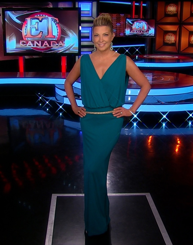 Cheryl Hickey is going Grecian today in her belted long teal gown from Haute Hippie and gorgeous @Stella Menagia and Dot earrings! #ETCanada