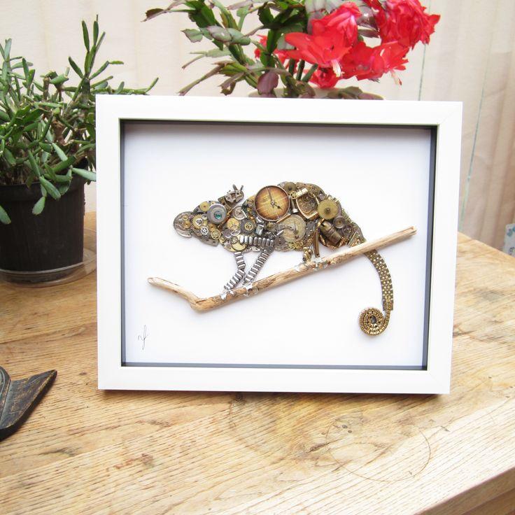 Stoptick art chameleon picture framed