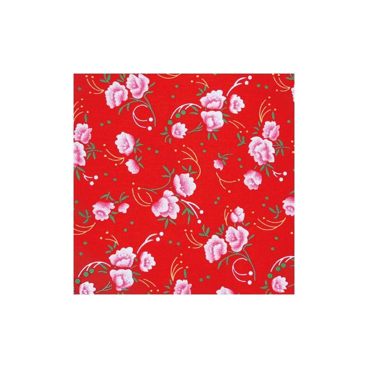 Coton enduit Petite Pivoine rouge