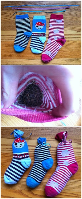 No-sew lavender sachets made from odd socks