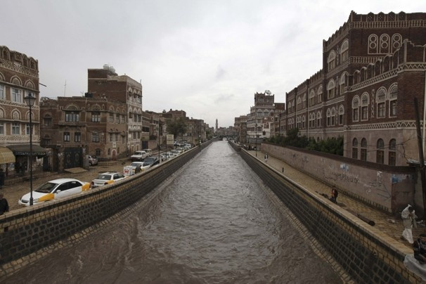 A canal is seen flooded in the old city of Sanaa. Yemen.