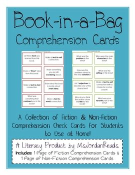 Comprehension Cards. Repinned by SOS Inc. Resources pinterest.com/sostherapy/.