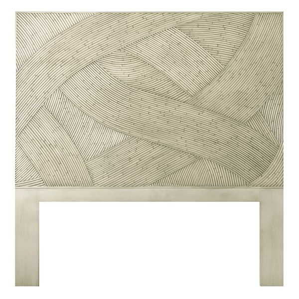 Off-White Swirl Rattan Twin-size Headboard
