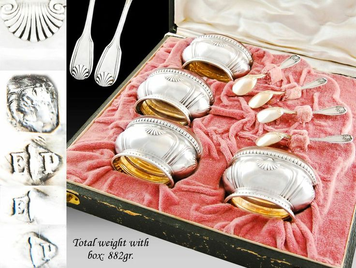 PUIFORCAT - Antique French Sterling Silver Vermeil Salt Cellars & Spoons - Boxed