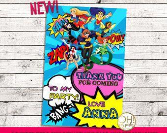 C.c. Super héroe chicas gracias tarjeta, chicas del superhéroe de dc, cumpleaños de niñas de superhéroes de dc, dc superhéroes chicas partido, niñas de superhéroes de dc, dc super