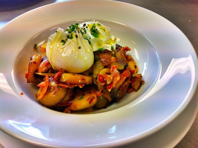 Eggs, bacon and sauteed potatoes from Shona Barbour at Adam & Eva's. A good hangover cure.