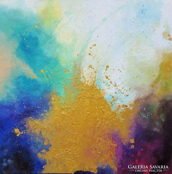 Tánccal született. 100x100cm, olajfestmény Gold, abstract oil painting