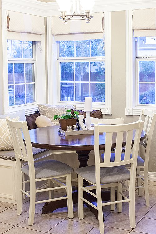 Dear Lillie - Bench, light fixture, and molding around windows. Great ideas for breakfast nook.