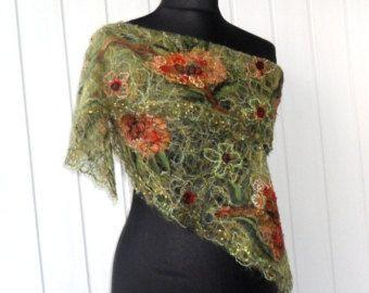Green handmade openwork shawl for women. orange green lemon pumpkin halloween 190 cm(74.8) long 22 cm(8.6) wide