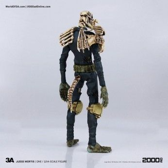 Preorder this ThreeA action figure now. flexible payments available. This 2000 AD Judge Mortis stands at 17cm 1/12 scale and is fully posable. Statuesque Ltd.