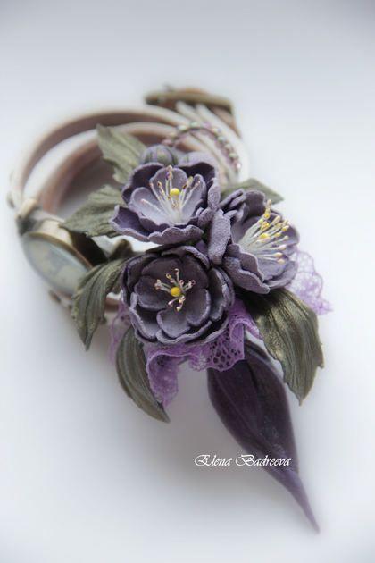 "Брошь из кожи ""Lavender"". Handmade."
