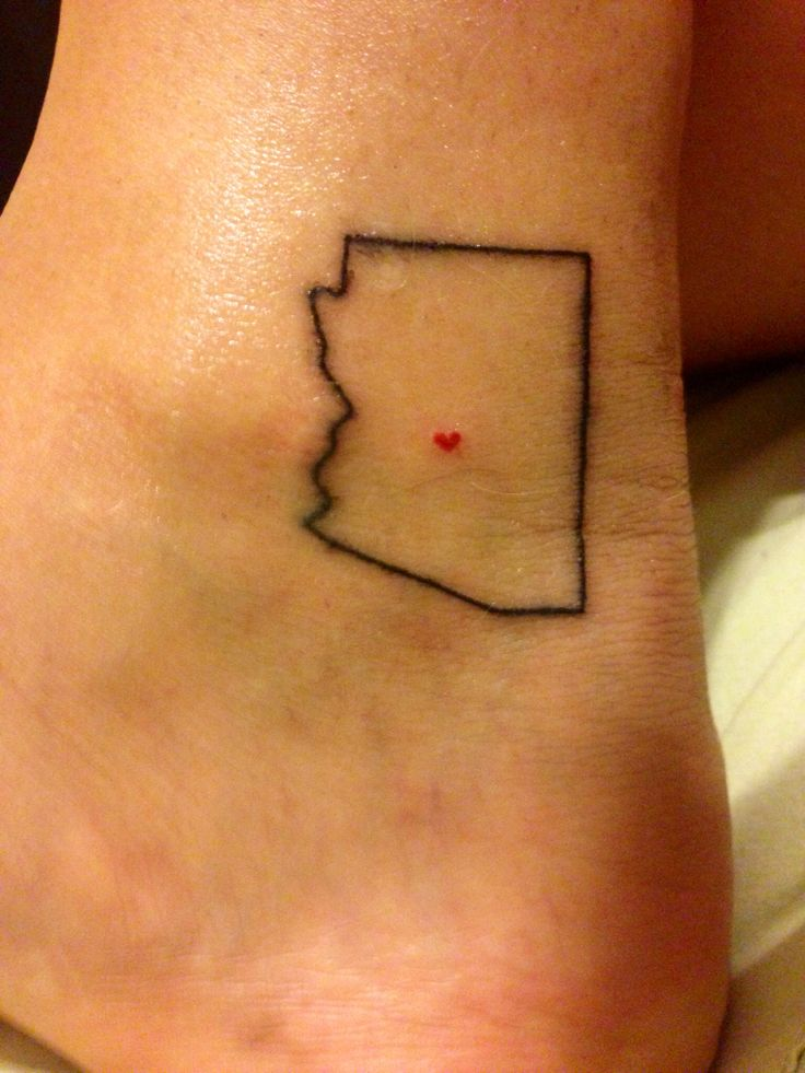 Arizona state outline tattoo. Move that heart a hundred miles south.