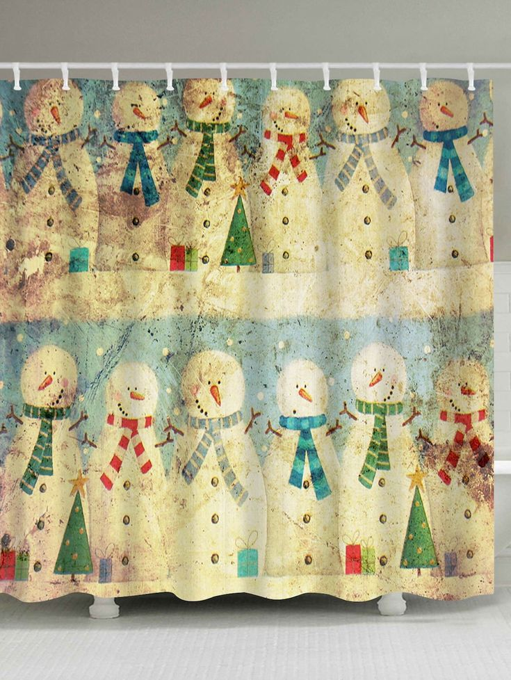 Christmas Snowman Family Waterproof Vintage Shower Curtain - COLORMIX W59 INCH * L71 INCH