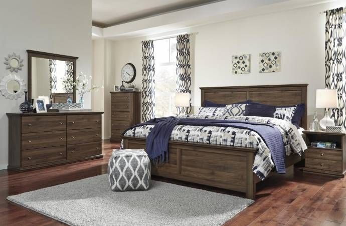 Ashley Burminson B135 King Size Panel Bedroom Set 5pcs In Brown