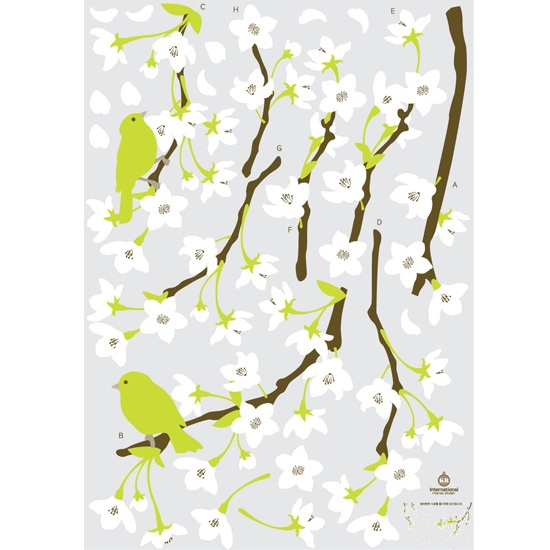 White Japanese Apricot Flowers Wall stickers for home decoration