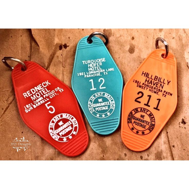 Choose from 2 motel key fob I had custom made. (Hillbilly Haven not available) Redneck Motel Turquoise Heifer Hotel