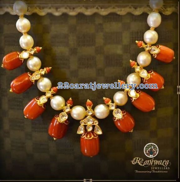 Contemporary coral beads and south sea pearls necklace sets apt for any attire