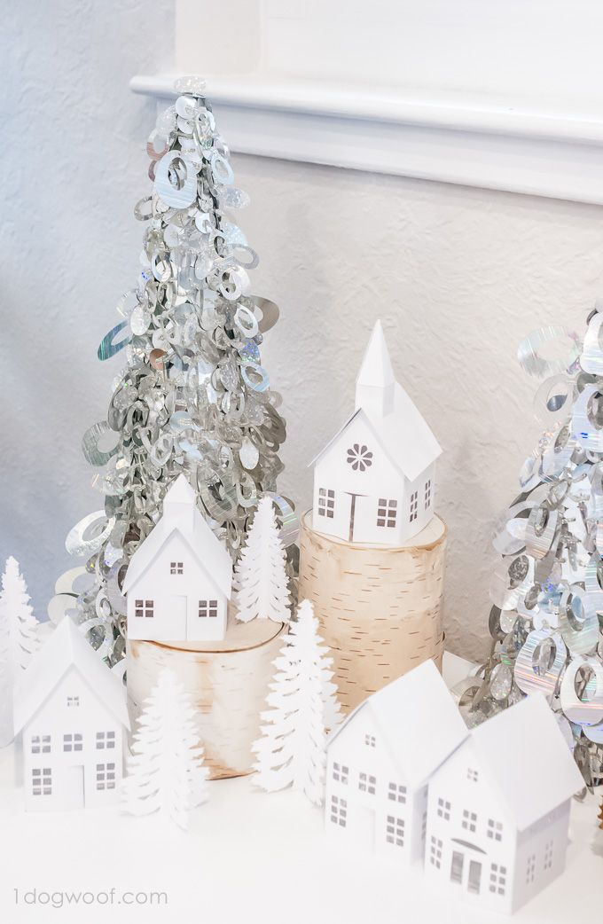 Winter Village Display - paper houses made with the Silhouette (including a mini tutorial) - One Dog Woof