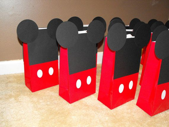 Mickey Mouse Party Favor Bags Goody Bags by BeesDieCutDesigns