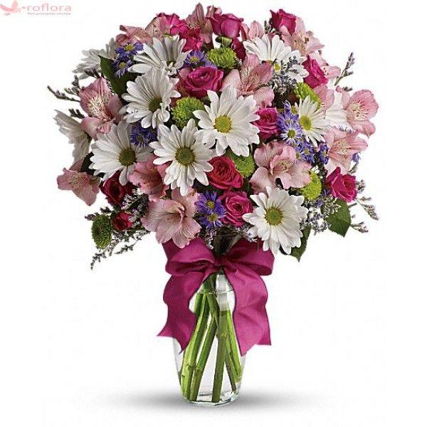 Pretty Please - Buchet din minirosa, crizanteme si alstroemeria
