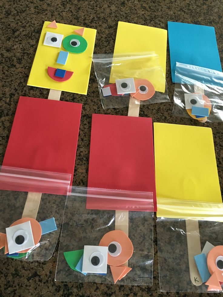 Robot puppets. Birthday craft