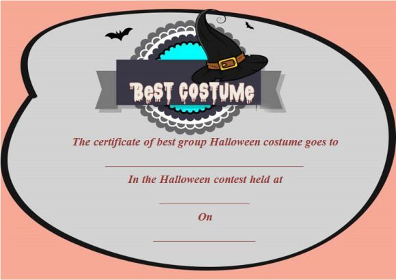 Halloween Certificates Best Costumes Elitadearest