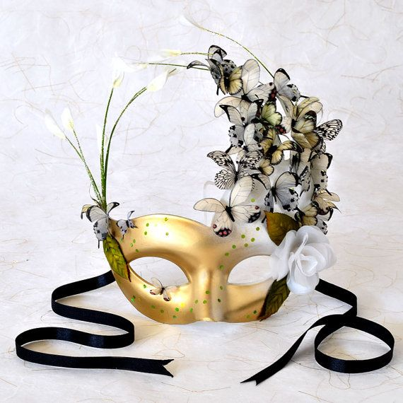 Sold. Venetian Mask Green Leaf with Butterflies White Flare style. Elegant sparkling accents fascinate. Even Titania, Queen of the Fairies, would be pleased to wear this Midsummer's Night Dream confection!