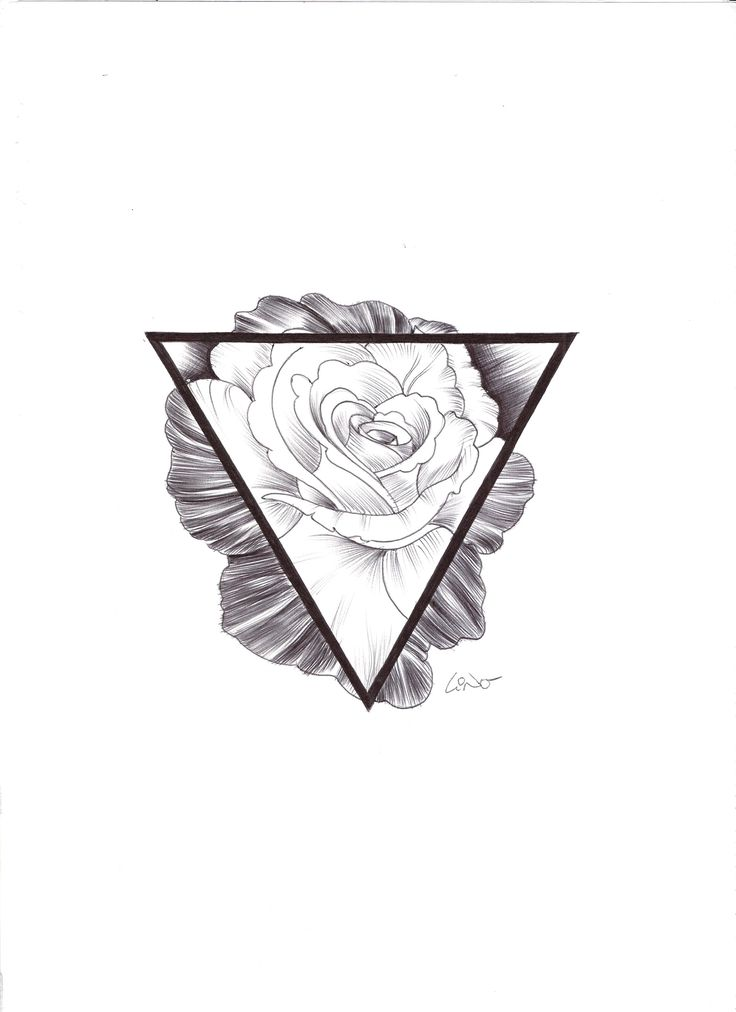 Hipster rose and triangle tattoo. Black & White.
