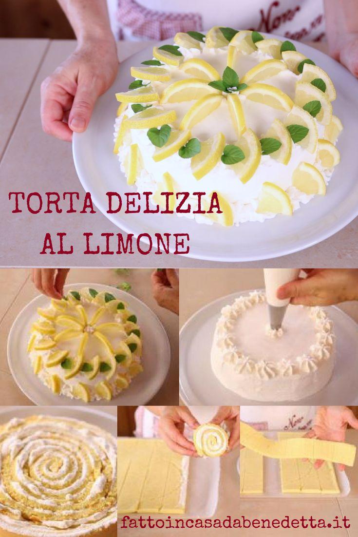 Torta delizia al limone, una torta al limone fatta in casa dall'aspetto elegante e raffinato.