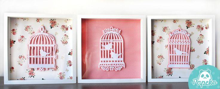 Deixe o quarto de seu bebê mais fofo com o trio de quadros Gaiola !    Com tons alegres, transmitem calma e sofisticação!    Em MDF , com os apliques em papel, cada quadro mede 24x24cm e as cores podem variar conforme a sua decoração.