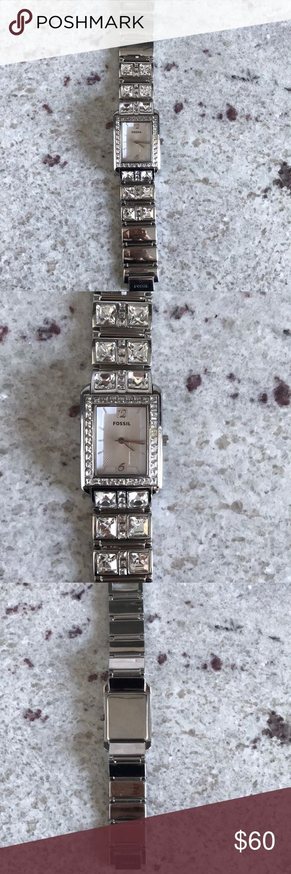 Fossil watch Silver Fossil watch. Good condition, just needs watch battery! Fossil Accessories Watches