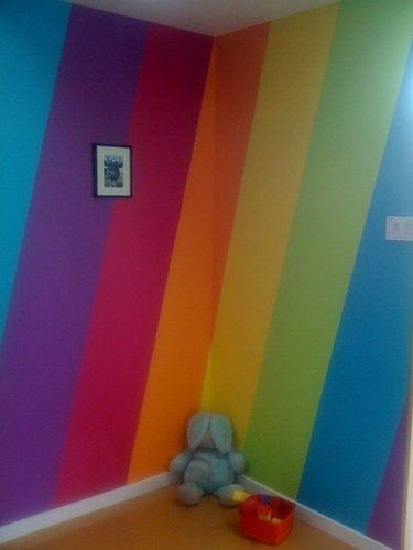 LOVE this idea for my daughter...when we live a house where we can actually paint the walls and if she hasn't outgrown her love of rainbow things by then lol