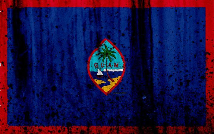 Download wallpapers Guam flag, 4k, grunge, flag of Guam, Oceania, Guam, national symbols, Guam national flag