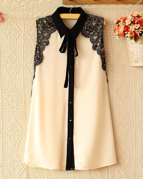 Sweet Style Lapel Collar Ruffled Lace Splicing Eyelash Decoration Single-Breasted Lacing Design Sleeveless Chiffon Blouse