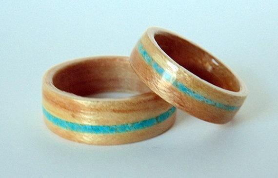 Maple Wood Wedding Rings With Turquoise Inlay Kicks