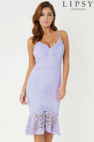 bd0a178e3a6 Purple Lipsy Scallop Lace Flute Hem Midi Dress