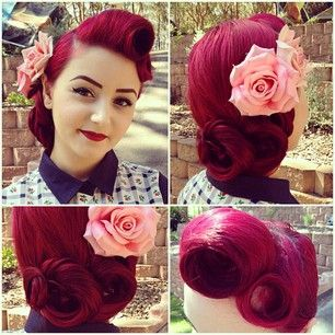 Amazing hair. Wish I could do this to myself. The style, not the color that is! Love my brown locks too much.
