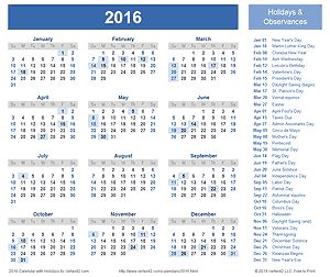2016 Calendar with Holidays