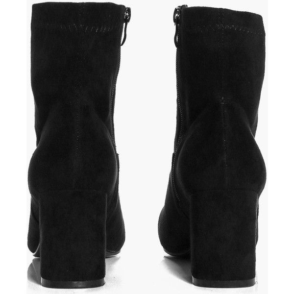 Boohoo Nina Block Heel Sock Boot | Boohoo ($31) ❤ liked on Polyvore featuring shoes, boots, peep toe boots, platform chelsea boots, peep toe ankle boots, short high heel boots and high heel platform boots