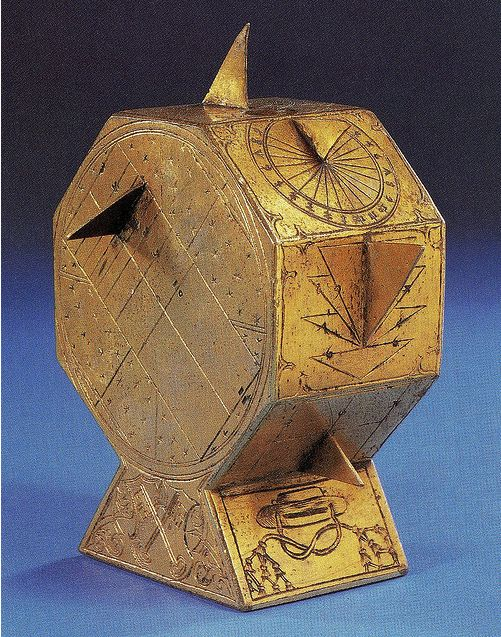 """This is a portable sundial that belonged to Cardinal Wolsey. The symbol of the Bishop of York and Wolsey's """"Cardinal"""" symbol is engraved on the sundial. At the time of its creation, technology was fascinating and many people were very interested in every science imaginable. It can only be imagined that the sundial is such an object that Henry VIII would have confiscated when Wolsey fell from power and the King confiscated the Cardinal's belongings."""