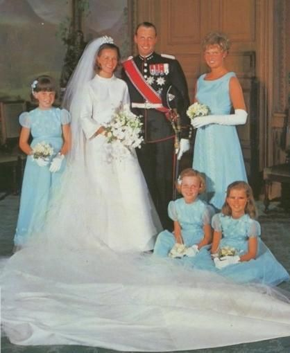 """29 Aug 1968 - King Harald V/Queen Sonja of Norway's Wedding - A Cinderella Story: for an egalitarian state such as Norway, Sonja, a commoner, had to endure """"a row about royalty/class"""" 
