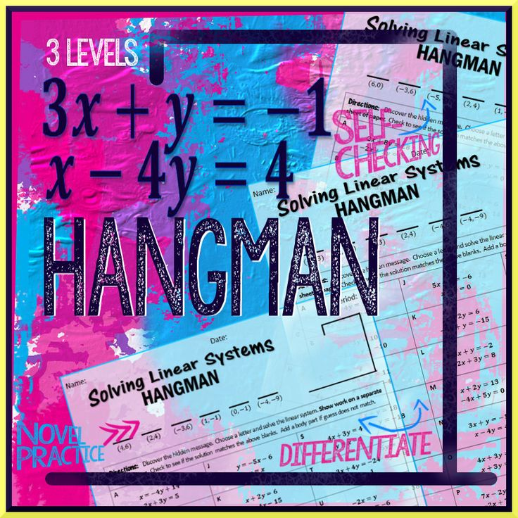 Spice up practice solving Systems of Linear Equations with this Hangman activity.  Three versions included: Substitution, Basic Elimination, and Elimination.  Hangman message makes grading student practice a breeze.  This is my personal favorite Hangman. ★Common Core Standard: REI.C.6 ★  $